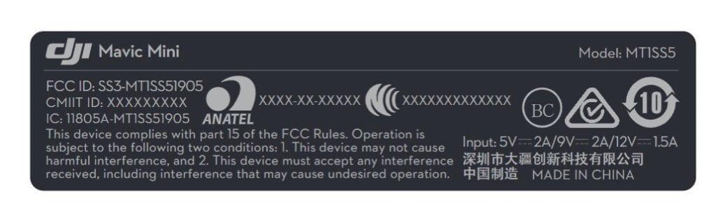 DJI mavic mini FCC