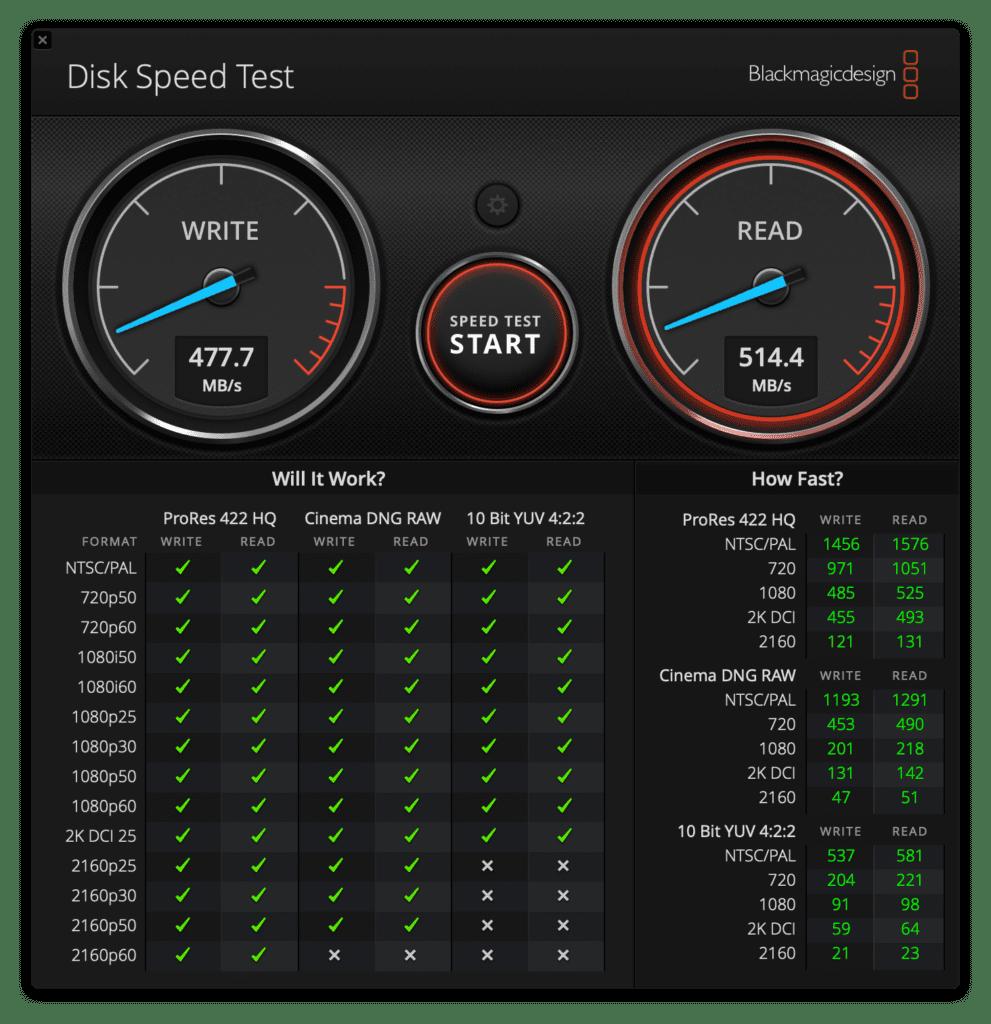 Blackmagic Disk Speed Testを使って速度チェック