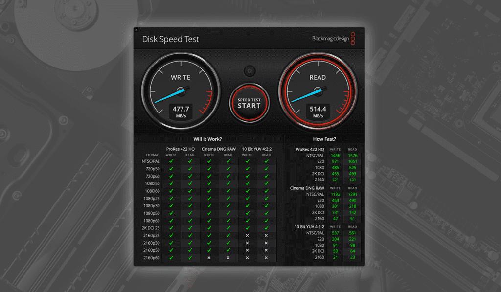Blackmagic Disk Speed Test 使い方