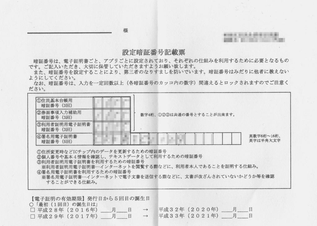 利用者証明書用電子証明書のパスワード