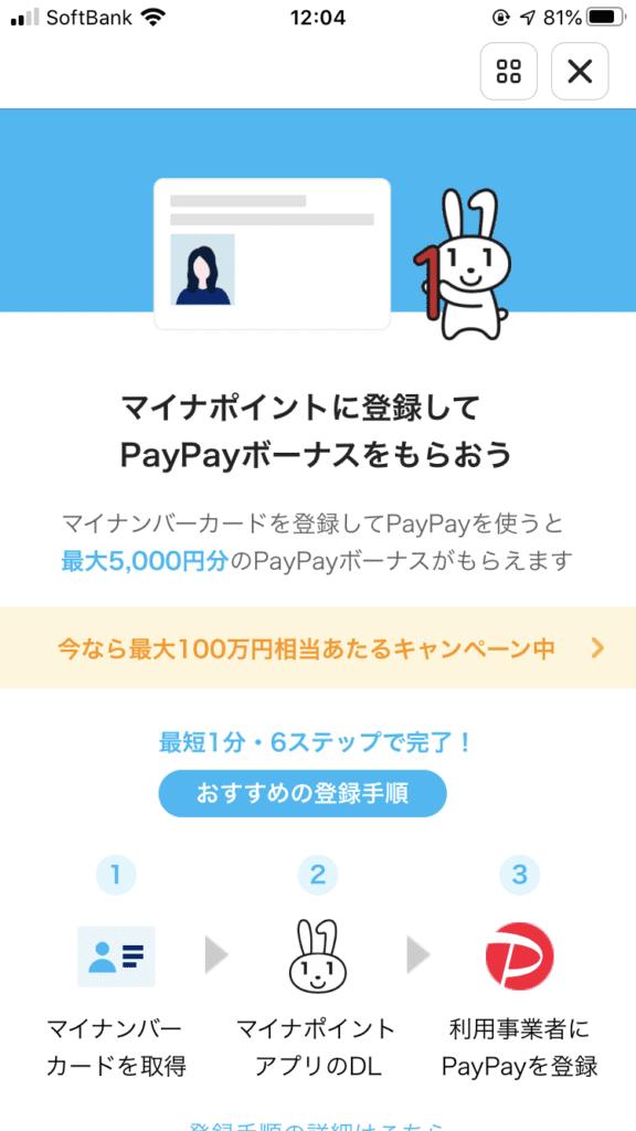マイナポイント 取得方法 PayPayアプリ